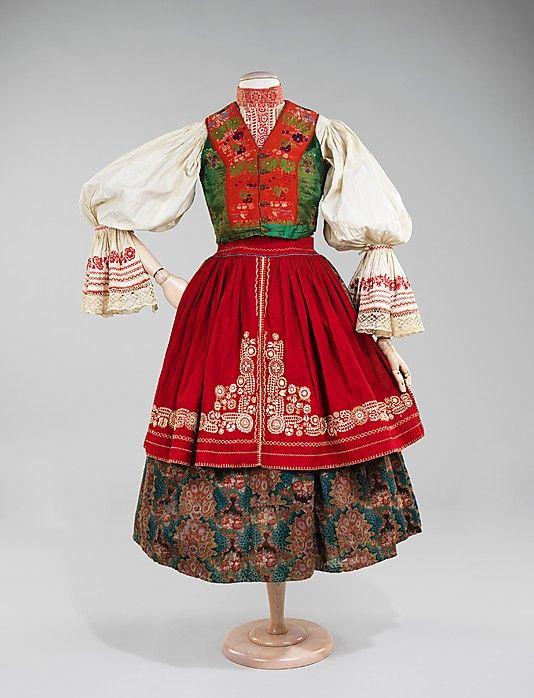 Ensemble.  Date: 1840–80. Culture: Slovak. Medium: wool, cotton, silk. Dimensions: Length at CB (a): 32 in. (81.3 cm). Length at CB (b): 25 in. (63.5 cm). Length at CB (c): 12 in. (30.5 cm). Length at CB (d): 22 in. (55.9 cm).