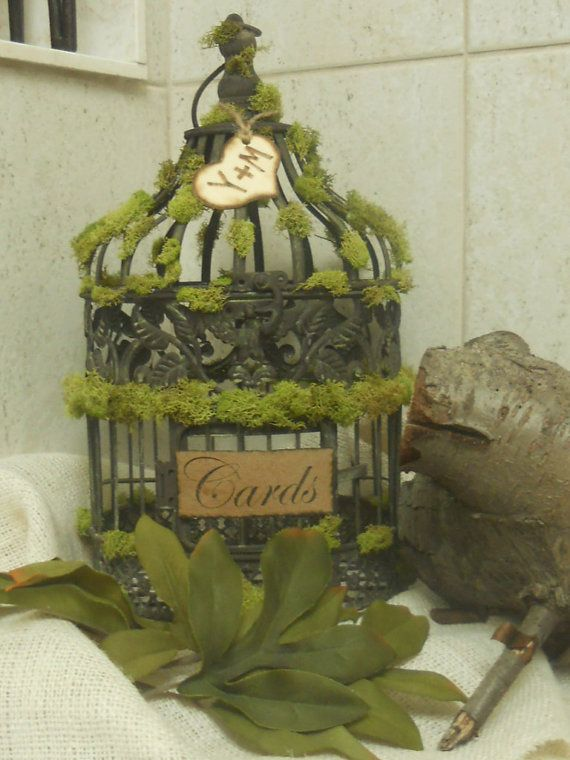 Rustic  Moss Wedding/Birdcage/Cardholder by YesMoreFunk on Etsy, $45.00