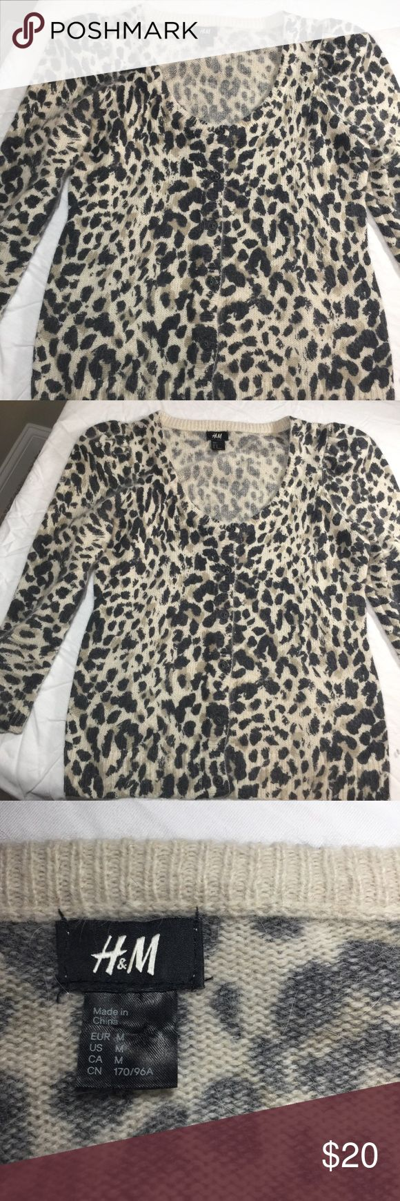 H & M animal print cardigan 3/4 sleeve size medium H & M animal print button up cardigan with 3/4 sleeve. Fabric is soft and slightly fuzzy. Size medium. Measurements in picture. H&M Sweaters Cardigans