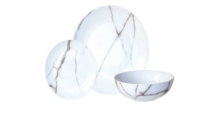 Marble Look Dinner Set 12 Pieces | Domayne