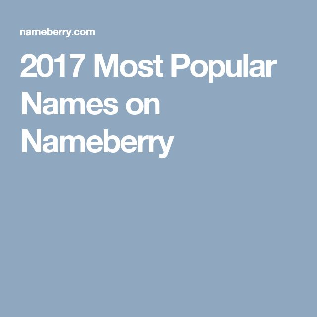 2017 Most Popular Names on Nameberry