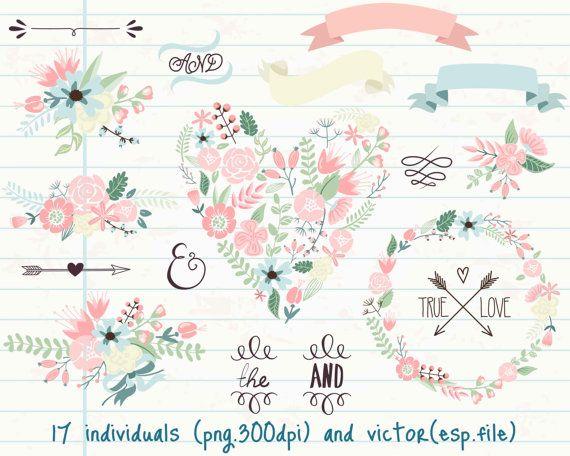 doodles clipart fleurs wreath mariage fleur guirlande. Black Bedroom Furniture Sets. Home Design Ideas