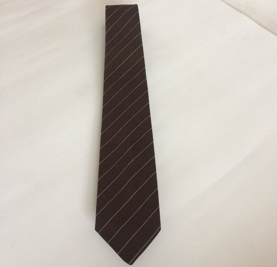 Vintage Pierre Cardin Brown Striped Skinny Men's Necktie