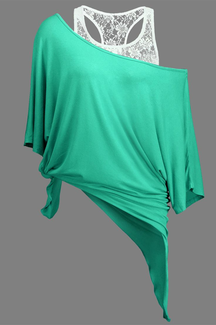 $17.14 Handkerchief Batwing T-Shirt with Lace Tank Top - Light Green