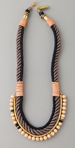 Lizzie Fortunato Necklace with braided rope, leather, and pearls