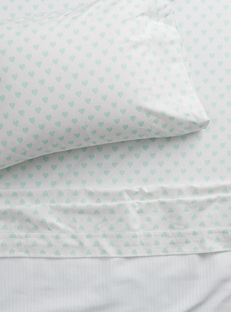 Pastel heart flannel sheet set | Habitat | Shop Flannel Bed Sheets Online in Canada | Simons