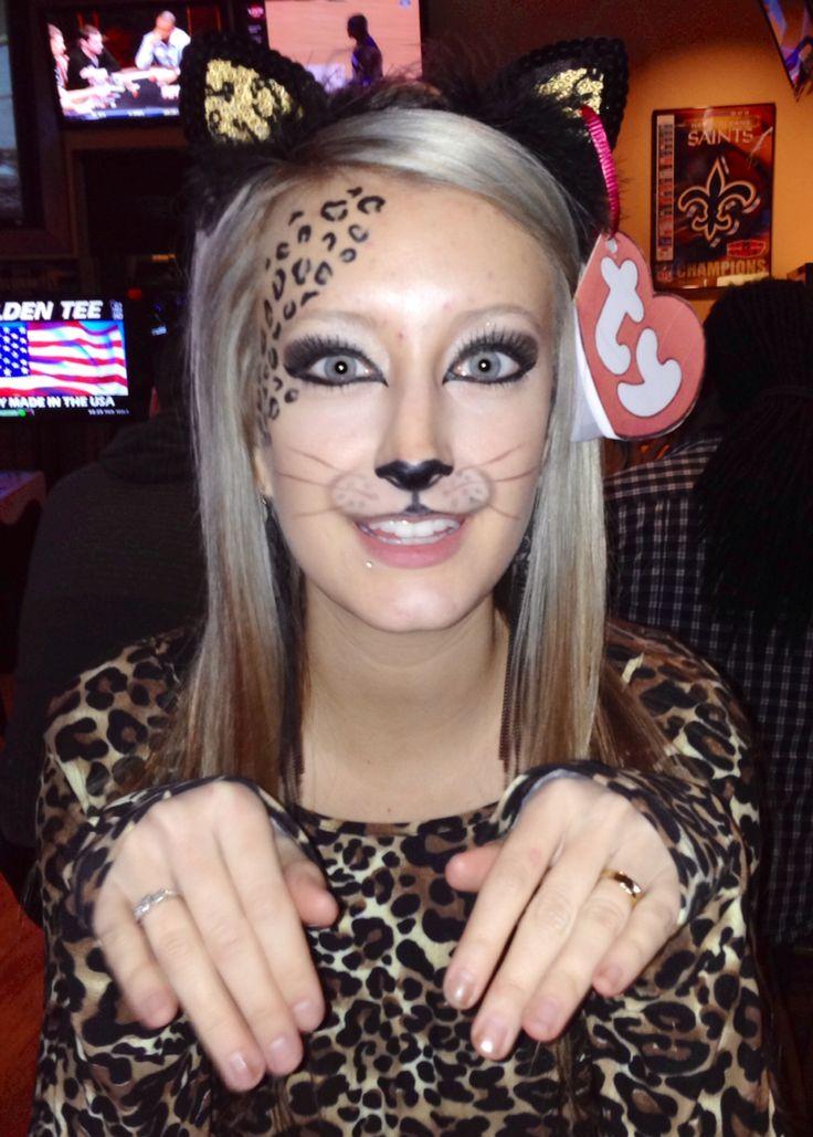 Halloween costume. Cheetah beanie baby. Cheetah makeup. ty tag