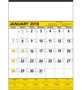 Product: 1C415 2018 Contractor Memo Calendar, Yellow & Black Basic custom imprint setup & PDF proof included! This 12-sheet business planner is used in most industries. Date blocks contain faintly ruled lines along with symbols denoting Julian dates, the days remaining in the year, work days remaining without Sunday & Saturday and work days remaining without Sunday. December top sheet (13th sheet) included at no additional charge. This calendar includes every sheet imprinting & a durable…