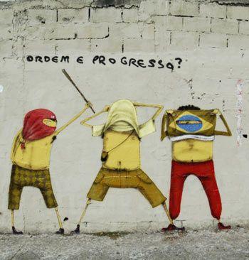 "Os Gemeos - brazilian street artists  ""ordem e progresso?"" Brazil's flag phrase  as a question Mark - orden and progress?"