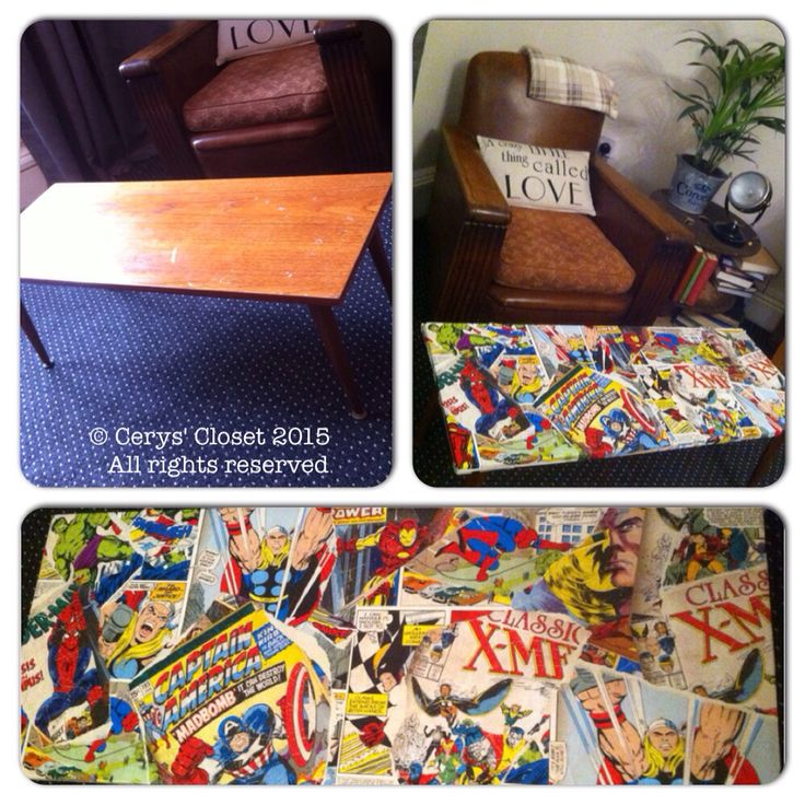 Up cycling geek style! #geek #up-cycling #creative #marvel #comic #DCcomic #hulk #ironman #wolverine #vintage #furniture #spiderman