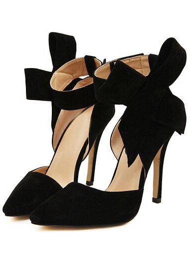 Black With Bow Slingbacks High Heeled Pumps -SheIn(Sheinside)