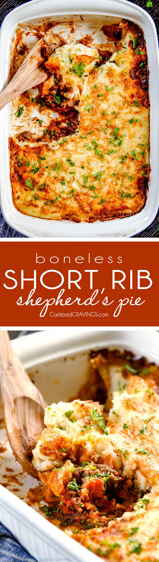 The best Shepherd's Pie!!! Savory, comforting Boneless Short Rib Shepherd's Pie elevates shepherd's (or cottage pie) to a whole new level with melt in your mouth meat and Swiss Gruyere Mashed Potatoes! This is guaranteed to be a new family favorite!!! via @carlsbadcraving