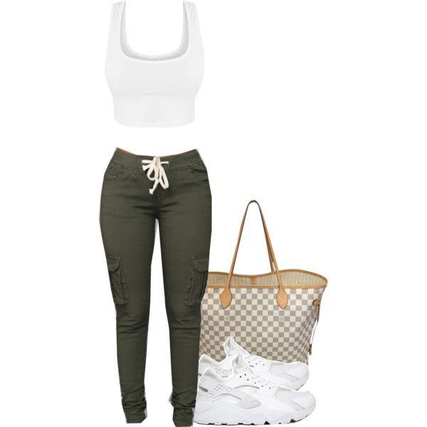 ................                              ......                                          Green cargos, tan tank, lv damier bag, tri color slides