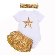 Мода младенец детская одежда устанавливает возчиков с коротким рукавом блесток звезда + золото оборками шаровары повязка на голову новорожденных одежда девочку(China (Mainland))