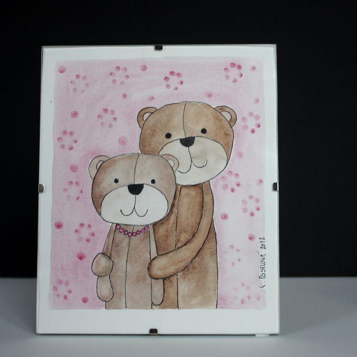 Medvědí manželé - portrét Kolorovaná perokresba ve skleněném klipu.  Rozměry 15x18 cm.