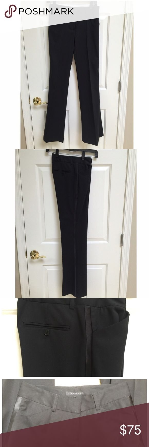 """Theory Black Wool Tuxedo Pant Size 0 Brand New, never worn. Black wool tuxedo pant with satin stripes down sides. 34"""" approx inseam. 90% wool, 8% polyamide, 2% elastane. Theory Pants Trousers"""