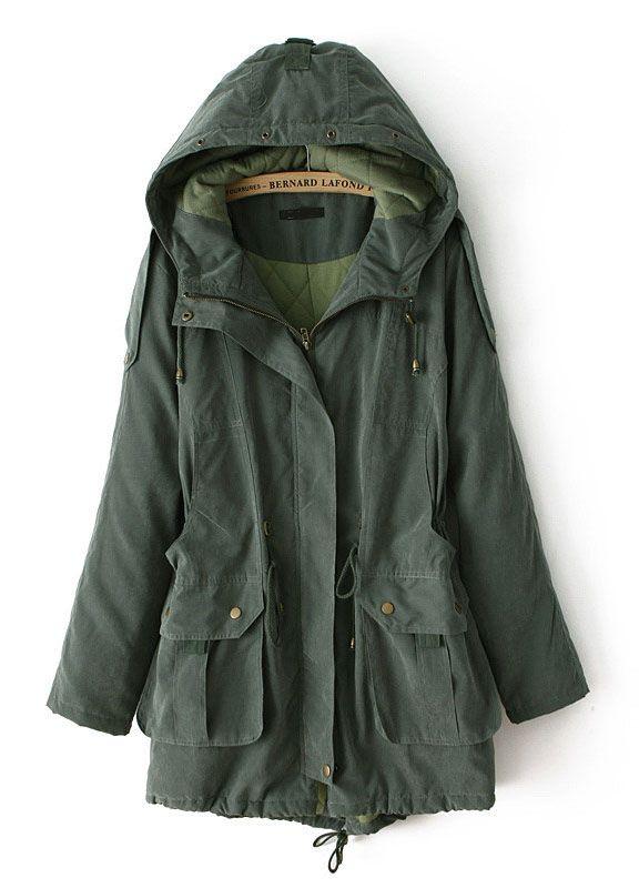 Abrigo con capucha bolsillos mangas largas-Verde EUR€35.96