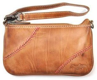 Vintage Leather Baseball Stitch Women's Wristlet / Mini-Bag by RawlingsONLY 3 LEFT!
