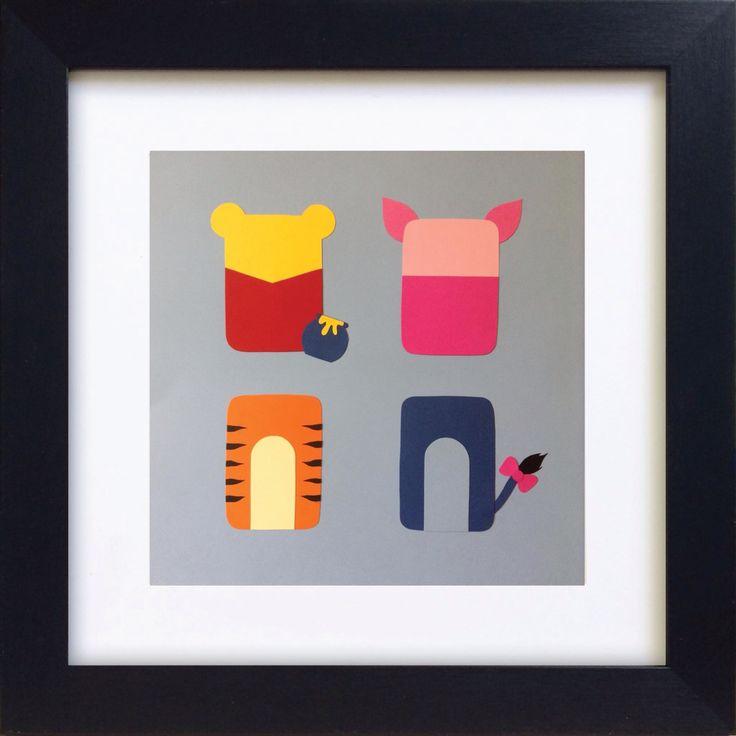 Handmade Minimalist Winnie-the-Pooh Poster - Framed.
