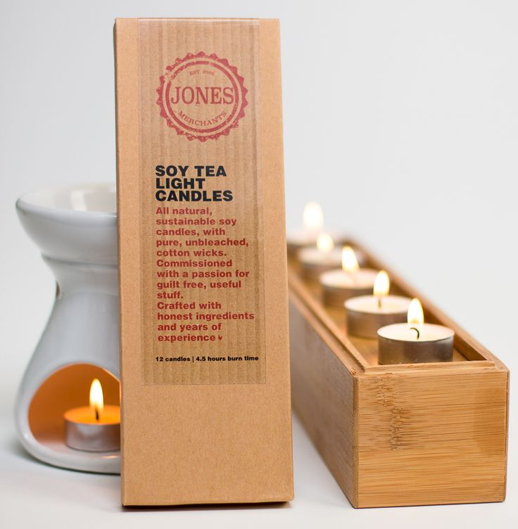 KingslandNZ www.livesimply.co.nz Sustainable pure soy tea light candles from a renewable resource. Jones Merchants soy wax tea light candles are the clean burning alternative to traditional paraffin tea lights. Made from pure farmed soy beans and hand made with pure unbleached cotton wicks.Perfect for using with an oil burner or use in several small cups to set the scene for everyday use and events such as weddings. The metal cups are recyclable and  easily cleaned.