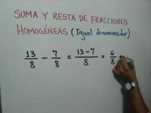 Suma y resta de fracciones homogéneas  Adding and Subtracting Like Fractions