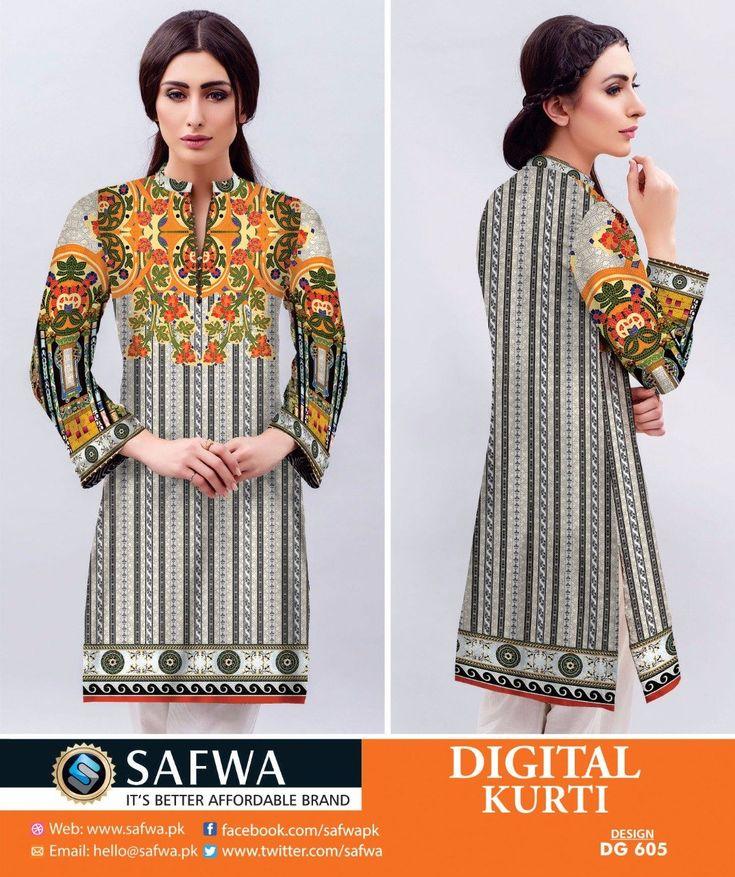 Safwa Brand - Price PKR850.00 only - Free Delivery! - Cash on Delivery - 30 Days Returns - DG605 - SAFWA DIGITAL COTTON PRINT KURTI COLLECTION -SHIRT KURTI KAMEEZ  #safwa #brand #digital #onlineshopping #pakistani #clothing #dresses #shalwarkameez #ladiesclothing #shoponline