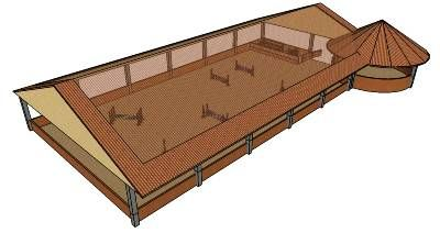 Indoor Arena & Round Pen...I always day dream about something like this...but I have never seen an actual plan for one