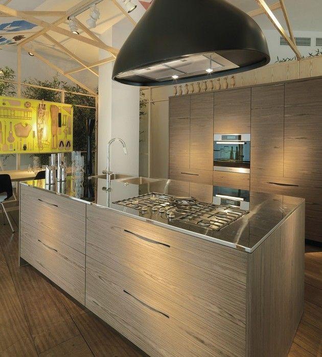 moderne holz küchen schiffini pampa kochinsel edelstahl - küche mit edelstahl arbeitsplatte