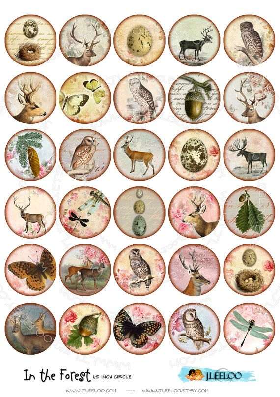 Instant Download  Digital sheet  IN THE FOREST  15 inch by JLeeloo, $3.60
