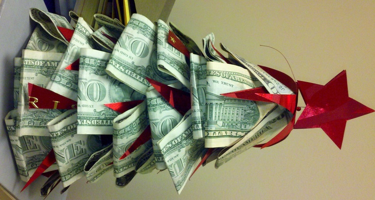 Money Christmas tree. Recycled Christmas card for trim ...