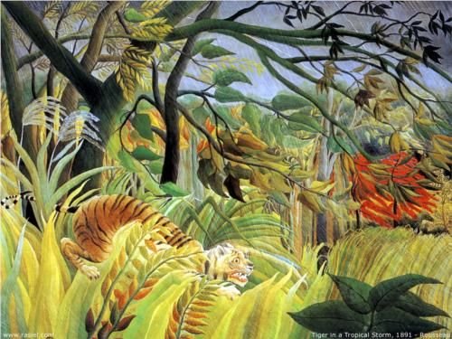 """Tiger in a Tropical Storm (Surprised!)"" (1891), Henri Rousseau, The National Gallery, WC2."