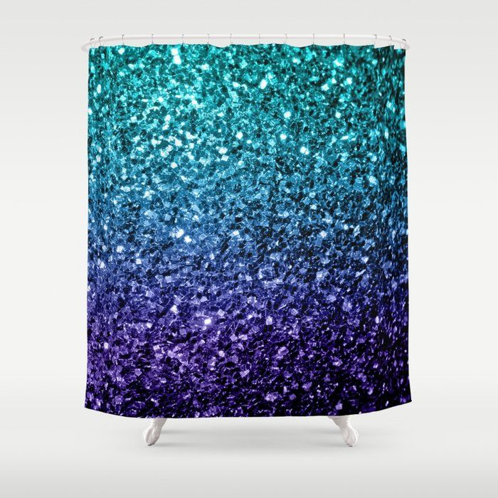 Buy Beautiful Aqua Blue Ombre Glitter Sparkles Shower Curtain By