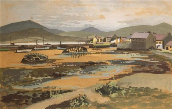 "Bea Orpen HRHA - ""Dingle Harbour""; Creation Date: 1940; Medium: Watercolour; Dimensions: 8.46 X 13.39 in (21.5 X 34 cm)"