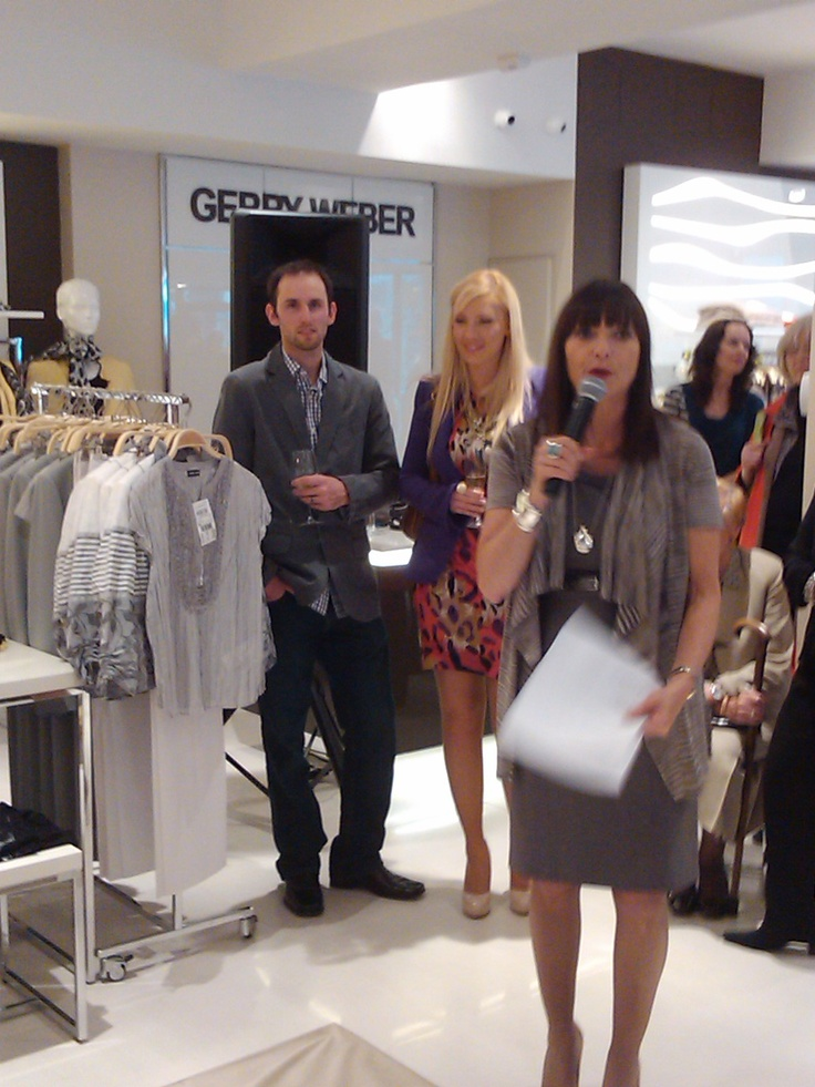 Jeanne Beker moderates a fashion show at the Gerry Weber opening in Burlington.