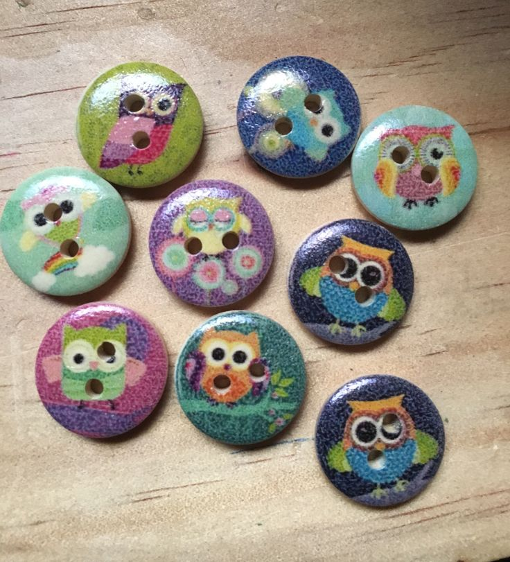 A personal favourite from my Etsy shop https://www.etsy.com/au/listing/523313228/owl-themed-buttons-mixed-coloured-round
