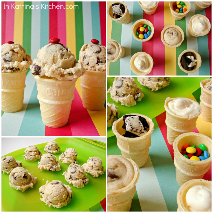Yes, this is happening!  Mini Cookie Dough Ice Cream Cones.  And I die of yum.: Minis Cookies, Cookies Dough, Katrina Kitchens, Eating Raw, Cookie Dough, Raw Cookies, Dough Ice, Cones Eggs Fre, Ice Cream Cones
