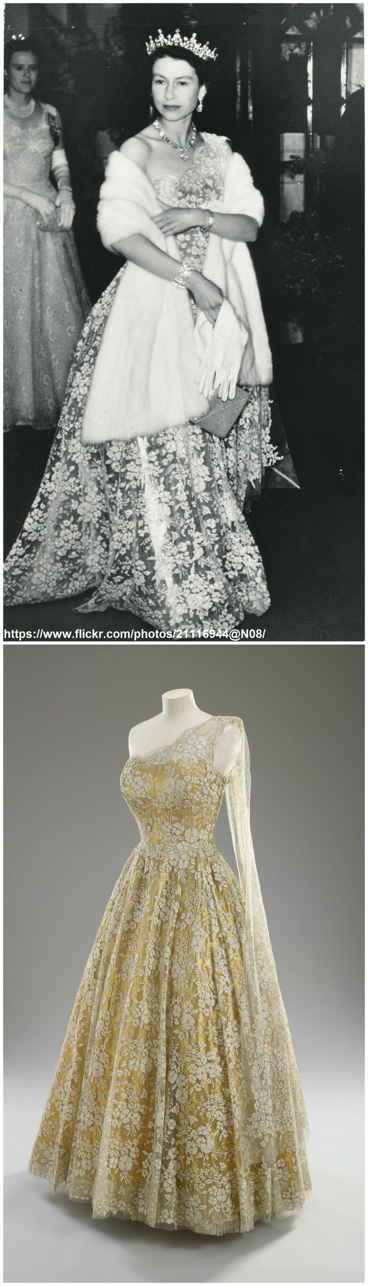 Above: Queen Elizabeth II arrives at Wellington Town Hall (New Zealand) for Investiture, January 1954. Photo via romanbenedikhanson on Flickr. Below: Evening gown,  by Sir Norman Hartnell, c. 1953-54. Gold lamé and lace. Worn by Queen Elizabeth II during her state visit to New Zealand in 1954. Royal Collection Trust/All Rights Reserved. CLICK FOR LARGER IMAGES.