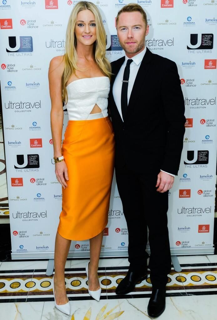Storm Uechtritz spotted out in London with her beau Ronan Keating wearing Frostings Strapless dress