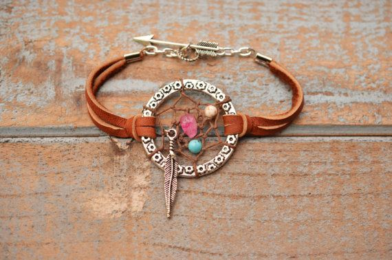 Dreamcatcher Bohemian Gypsy Boho Deerskin Jewelry Coachella Festival Chic Leather Friendship Arrow Bracelet Feather OVERSTOCK SALE