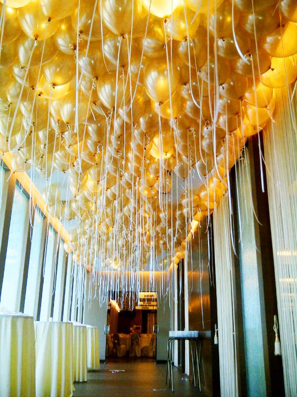 Ceiling covered in gold balloons | Nilusha & Ryan ...