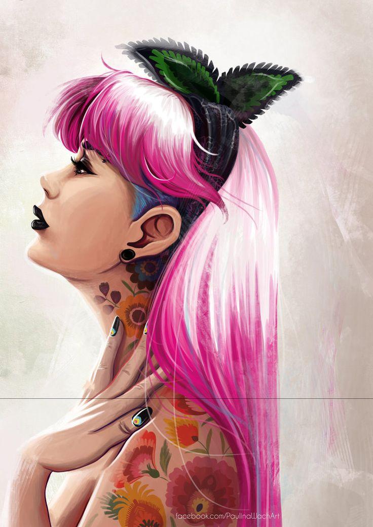 Pinkie by momofukuu  #PolskaMalowana #sztuka #cyfrowa #digital #art #woman #kobieta #portret #portrait #punk #folk #tattoos #tatuaże #pink #rebel