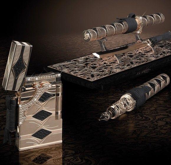 The $66,000 Gold & Diamond Samurai Lighter Set from S.T. Dupont