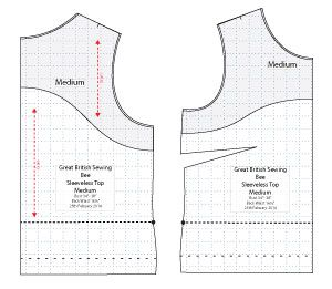 Diagram of Free Sewing Pattern of Sleeveless Top for the Great British Sewing Bee. Online downloadable Free PDF Sewing Patterns. Designed by...Angela Kane