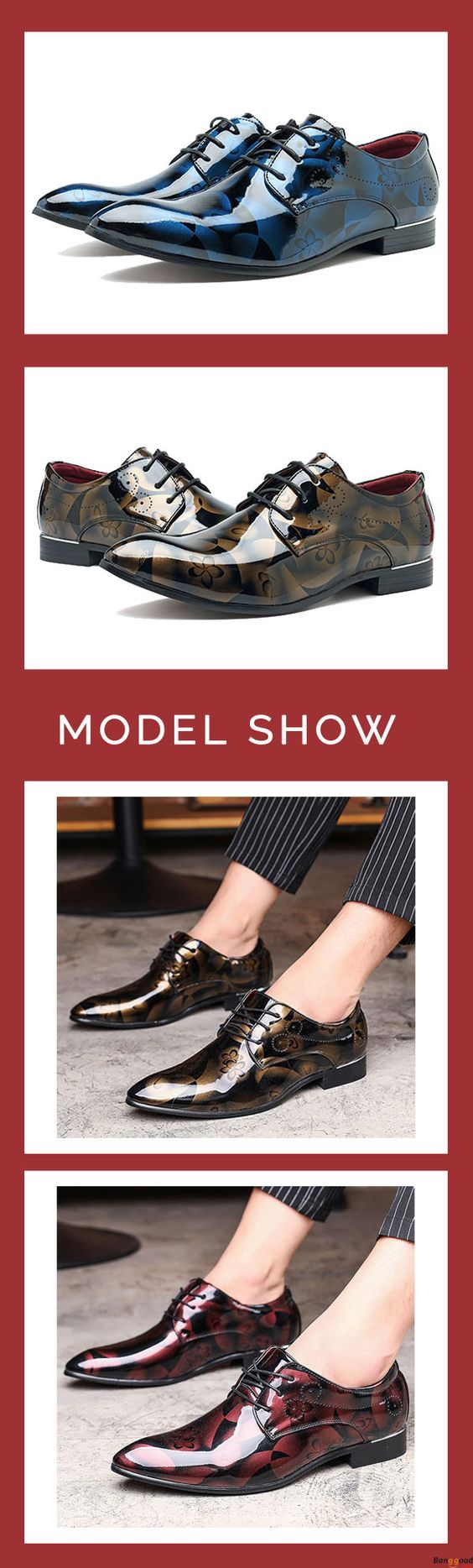 Large Size Comfy Leather Business Formal Shoes Pattern Pointed Toe Shoes for Men