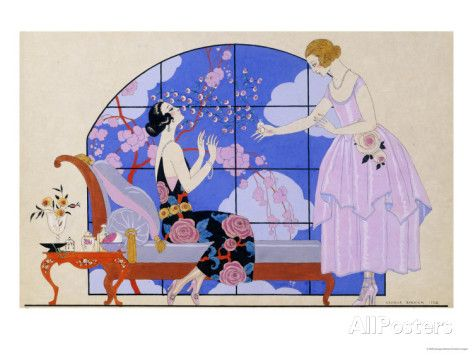 Two Ladies In A Salon 1924 Poster By Georges Barbier At AllPosters