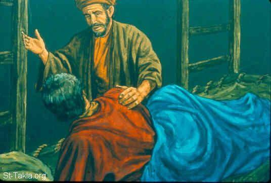 St-Takla.org Image: The captain wakes up Jonah (Jonah 1:6) صورة في موقع الأنبا تكلا: قائد السفينة يوقظ يونان (يونان 1: 6)