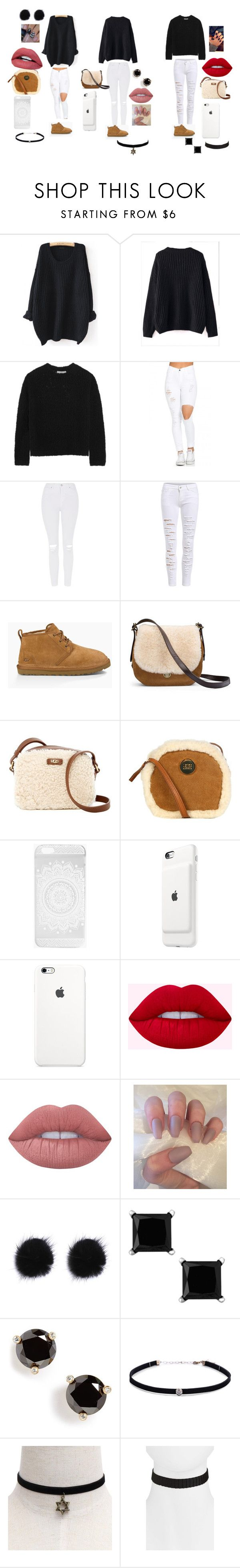 """""""Date night PT.1"""" by blackjanija on Polyvore featuring WithChic, Vince, Topshop, UGG Australia, UGG, Boohoo, Apple, Lime Crime, Kate Spade and Carbon & Hyde"""