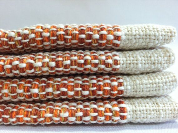 Fall Placemats Orange Set of 4 Handwoven Cotton by bristolloomsri, $65.00