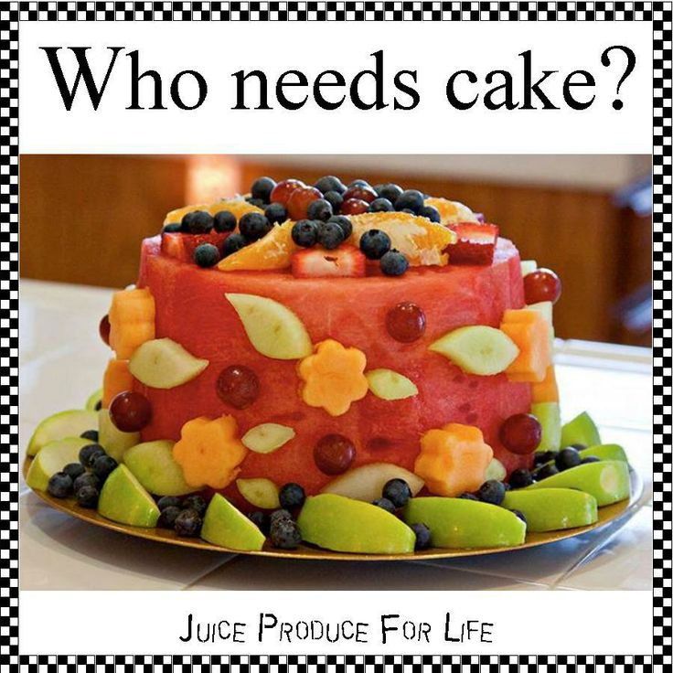 "Great recipe from Juice Produce For Life.  Find them @ http://facebook.com/JuiceProduceForLife  Directions: The ""cake"" is watermelon. Cut the ends off the watermelon to form the top & bottom of the cake; then cut away the rind from the sides of the cake.  Use cookie cutters to cut cantaloupe flowers and honeydew leaves/ Use toothpicks to attach to cake.  Decorate with additional strawberries, blueberries, apples, grapes, and oranges. Simple & yummy!  Juice on!"