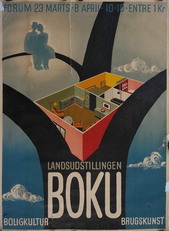 1934 Danish Exhibition Poster by Arne Ungermann by OutofCopenhagen